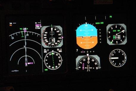 Painel dos instrumentos de vôo e navegação.