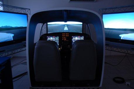 Visão geral da sala e telas de simulação.
